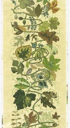 Joan Nelson, sidewall Assorted Leaves, 1991. 12/500, Hand-printed. Made by Scalamandré. CooperHewitt