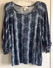 Michael Kors Snakeskin Python Blue Black Shirt Top Scoop Neck 3/4 Sleeve Medium