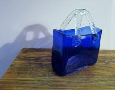Blue Glass Basket Clear Handles Vintage Glass Basket