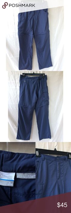 Columbia Navy Blue Zip Off Leg Hiking Pants Columbia brand. Size XL in youth boys, fit me I wear size 1 in women's and I am 5'2 could also fit size 3. (the women's version was way too tall for my height so I had to buy the youth one's) Navy blue color. Lots of pockets perfect for hiking and backpacking. Only worn on one trip minimal wear good condition. Zip off removable pant legs. FREE SURPRISE GIFT WITH EVERY ORDER! Columbia Bottoms Casual