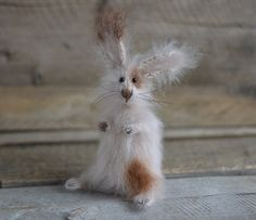 Curious Rabbit Benjamin Mohair Knitted Hare Art by OlgaMareeva, $68.00