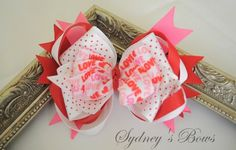 Valentines Day stacked boutique loopy hair bow hair by SydneysBows, $4.99