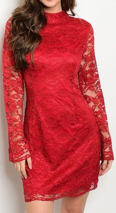 Mock High Neck Illusion Hem Sheer Sleeve Lace Floral Print Sheath Fashion Dress #Fashion #Sheath #Cocktail