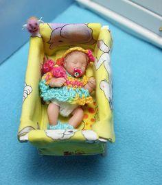 "OOAK Miniature Polymer Clay BABY GIRL Handsculpted Original Art Doll 2-1/4"" Cute #DuckwalkbabiesByMaryGarrett"