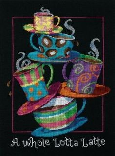 'A Whole Lotta Latte' Counted Cross Stitch Kit by Dimensions