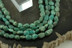 Natural Turquoise: Faceted Nugget Beads / 7x10mm / by BeadWalla