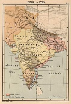 Maratha Empire in 1794 (yellow) Justus Perthes, Gotha.] A Historical Atla History Page, History Timeline, History Memes, History Facts, India World Map, India Map, India India, India Travel, Vintage Maps