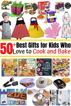 Are your kids cooking and baking fans?Get them a gift they will enjoy with 50  best gifts ideas for kids who love to cook and bake or gifts to encourage kids to spend more time in the kitchen helping prepare food. #kidcooking #kidbaking #kidsgifts #giftguide #giftsforkids #kidchefs #kidbakers #giftideasforkids Star Wars Cookbook, Kids Cookbook, Baking Set, Baking With Kids, Cool Gifts For Kids, Kids Gifts, Mickey Waffle Maker, Toddler Vegetables, Silicone Cupcake Liners