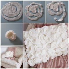 Easy to make this beautiful rose flower pillow with fleece or felt .  Check tutorial--> http://wonderfuldiy.com/wonderful-diy-feltfleece-rose-pillow/