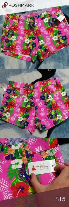 NWT Shorts size M Cute shorts with pineapple and parrot detail. Never worn still has tag attached. Shorts