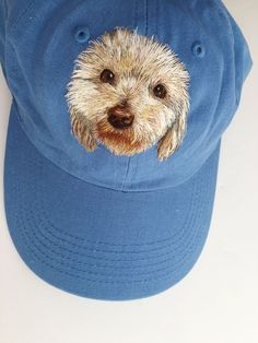 Finished dog hat embroidery! This is a custom pet portrait :)