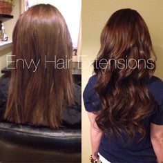 Hair extensions before and after in Colorado at Envy Beauty Room 720 329 9392