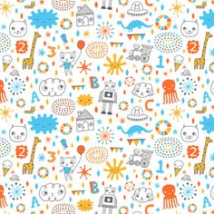 Sweet Doodles fabric design by Liz Adams, via Behance