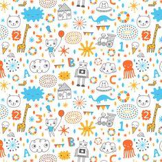 Sweet Doodles fabric design by Liz Adams, via Behance