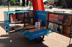 The pic posted here is actually from the Denver Public Library project but the article also features the Public Library books on bike mobile story from NPR. Little Free Libraries, Little Library, Free Library, Library Cart, Library Books, Library Ideas, Mobiles, Little Free Pantry, Mobile Library