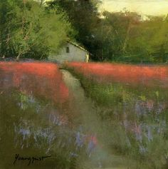 Galleries in Carmel and Palm Desert California - Jones Terwilliger Galleries - Romona Youngquist Pastel Landscape, Contemporary Landscape, Abstract Landscape, Landscape Paintings, Abstract Art, Landscape Glass, Green Landscape, Landscape Architecture, Pinturas Em Tom Pastel