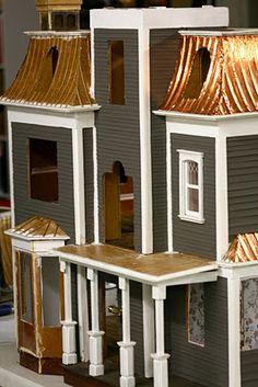 Dollshouse with copper roof- dark siding