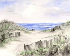 A Cloudy Beach watercolor print watercolor art by RPeppers on Etsy