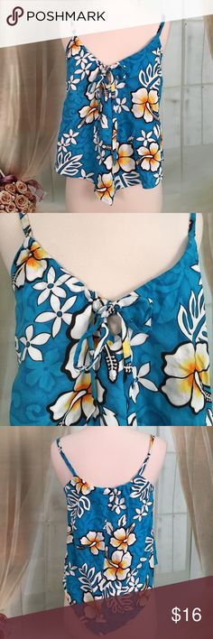 """Tiki Palm Hawaiian Print Blue Summer Top Super cute blue Hawaiian print summer top. 100% rayon. The straps are adjustable. New condition. Size M. Bust measures armpit to armpit 17 inches, length 25"""".  TP177 LOC-9 Tiki Palm Tops"""