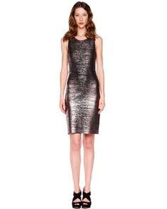 T568B MICHAEL Michael Kors  Foil-Printed Jersey Dress