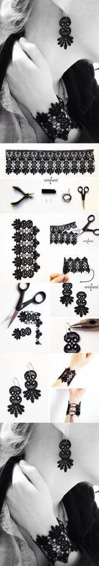 – bracelet, collier, bague en dentelles DIY Lace Bracelet and EarringsDIY Lace Bracelet and Earrings Lace Bracelet, Lace Earrings, Lace Jewelry, Textile Jewelry, Fabric Jewelry, Jewelry Crafts, Handmade Jewelry, Wood Earrings, Do It Yourself Jewelry
