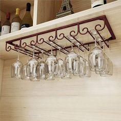 Hanging Shelves, Glass Shelves, Wine Bottle Holder Wall, Wine Rack Inspiration, Hanging Wine Glass Rack, Wine Rack Design, Wine Rack Cabinet, Wine Cabinets, Organizer