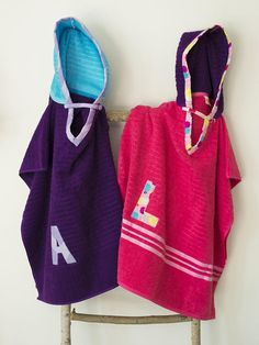 Hooded Towel Poncho in Pink & Purple. Boy or Girl print your