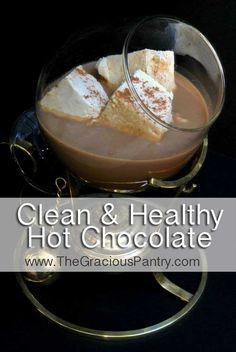 Clean Eating Hot Chocolate Had this last night and it was very yummy. Next time will use a little less cinnamon because we weren't fans of the aftertaste that left. Healthy Hot Chocolate, Hot Chocolate Recipes, Yummy Drinks, Healthy Drinks, Yummy Food, Clean Eating Recipes, Cooking Recipes, Eating Clean, Clean Eating Desserts