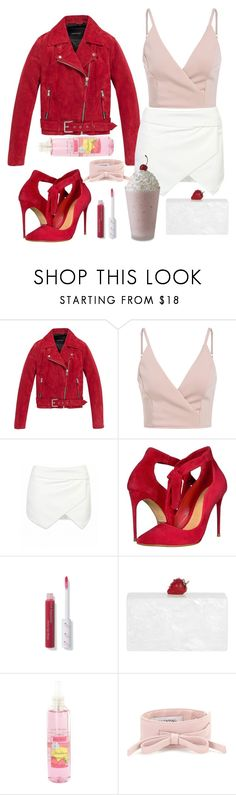 """Strawberry Shake"" by leslie-mcfarland ❤ liked on Polyvore featuring Andrew Marc, Schutz, Edie Parker and Valentino"