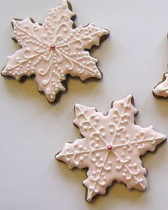 Snowflake Cookies: My favorite thing about Christmas is the cookies!! I love that at Christmas we make cookies that are delicious and beautiful. At Christmas, I dream of a big plate of beautiful cookies of every variety!
