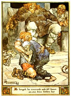 Illustrations from The Heroes of Asgard by C.E. Brock Thor wrestles Elli (Old Age) at Utgard-Loki's