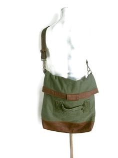 Army Green Duffel Bag Upcycled Recycled Shoulder Bag Cross Body Bag Leather Straps by avivaschwarz on Etsy