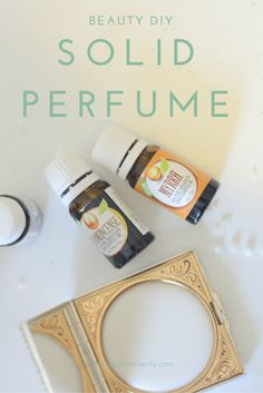 DIY solid perfume. Quick and easy project that makes a great gift. Learn how to make a natural perfume with essential oils that is very practical for traveling or putting in your purse. Beautifully presented in an ornate vintage compact.