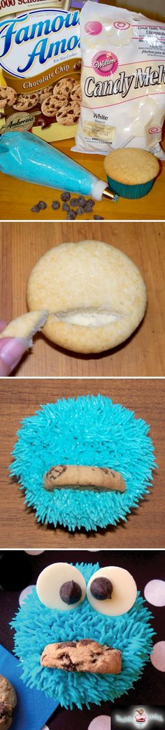 Cookie Monster..I used ready made brute blue frosting with decorator tips available at jewel. Used rose tip to make cute furry texture. Slit cupcake at liner edge so cookie looks like its coming out of mouth. Cut marshmallows for eyes and put a dot of black decorator frosting for eye balls...so cute!!