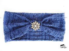 Navy Headband Headwrap Blue Headband Lace by ElenasLittleShoppe Turban Headbands, Lace Headbands, Headbands For Women, Rhinestone Headband, Head Wraps, Belts, Hair Accessories, Etsy Shop, Navy
