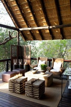 Tree Camp symbolizes the real essence of Londolozi's endless strive to surpass and reconcieve wilderness journeys. Sophistication and simplicity are the emblem of the Tree Camp sanctuaries, it is s… Living Pool, Home Living, Living Spaces, Outdoor Rooms, Outdoor Living, Outdoor Decor, Outdoor Sheds, Outdoor Life, Exterior Design