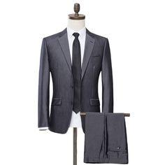 Men's 2-Piece Classic Fit Two Button Notch Lapel Solid Wool Suit. Gray Suits, Grey Suit Men, Grey Slim Fit Suit, Online Discount, Fitted Suit, Suit Separates, Wool Suit, Fashion Sale, Suit Jacket