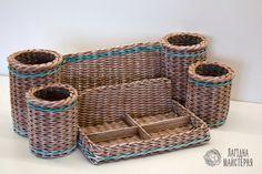 Органайзер для канцелярии (плетение из бумажной лозы, газет, бумажных трубочек, basket weaving, paper)
