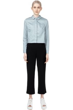 Cropped Stretch High Waist Trousers