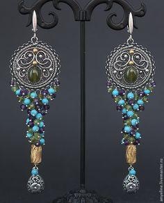 Купить Сhicory - зеленый, голубой, бирюзовый, фиолетовый, позолота, серебряные серьги, филигрань, wire wrap