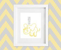Elephant Nursery Art Print in Yellow & Gray / Grey - Good Night Sleep Tight - 8x10 Baby Nursery or Kid Room Animal Safari Wall Decor