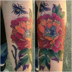 Peony Flower tattoo by Adam Sky, Rose Gold's Tattoo, San Francisco