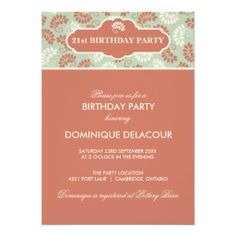 RED GREEN FLORAL PATTERN FALL BIRTHDAY INVITATION