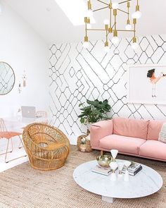 @sarahshermansamuel's updated studio space is the definition of #officegoals. We're totally inspired by her mix of modern & natural elements! {Link in profile to shop} #sssinteriors #jossfind #officeinspo