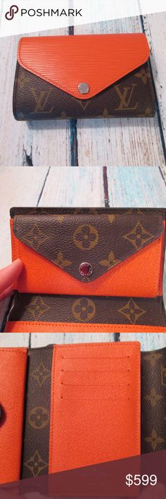 Louis Vuitton PF Marie Lou Compact Wallet Beautiful, authentic Louis Vuitton Monogram Porte-Feuille Marie Lou Tri-fold Wallet in pristine condition. Classic monogram with orange epi leather contrast. Inner coin pouch, four card slots and one open compartment for bills. In addition, there is one open compartment on outside of wallet.   Pristine condition. One smudged area on inside of coin compartment opposite snap closure. Ships with dust cloth and box.   Approx measurements:  5.5L x 4H x…