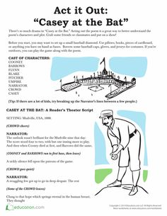 """Get caught up in the drama of """"Casey at the Bat"""" with this reader's theater script. Teaching Theatre, Teaching Poetry, Teaching Reading, Reading Lists, 4th Grade Reading, Early Reading, Casey At The Bat, Figure Of Speech, Readers Theater"""