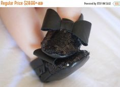 SALE Black Sequin Bow Baby Moccasins/ Baby Moccs/ Baby Moccasins Leather/ Baby Moccassins/ Baby Moccosins/ Toddler Moccasins/ Bow Moccasins