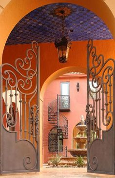 wrought iron gate to courtyard and spiral stairs Tor Design, House Design, Gate Design, Entry Gates, Entrance, Entry Doors, Entryway, Wrought Iron Gates, Metal Gates