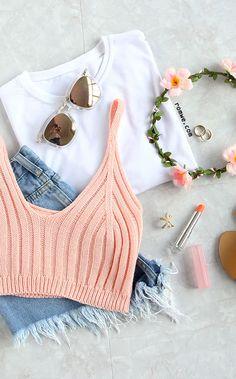 Pink Ribbed Knit Crop Cami Top