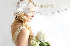 GATSBY starlet  bridal headpiece white feathers  par WeddedKiss, $30.00